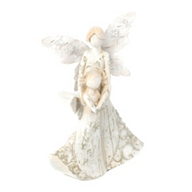 Smiling Angel with Child Statue