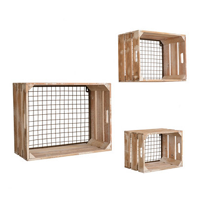 Distressed Cream Wooden Wall Crates, Set of 3