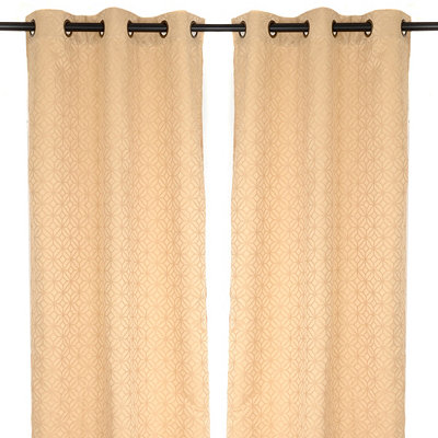 Cream Mosaic Curtain Panel Set, 84 in.