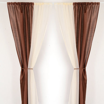 Chocolate & Ivory 6-Piece Curtain Panel Set, 84 in