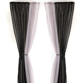 Black & Gray 6-Piece Curtain Panel Set, 84 in.