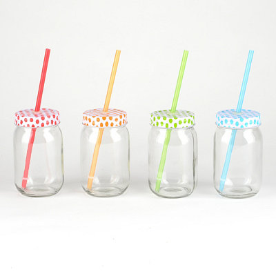 Polka Dot Mason Jar Sippers, Set of 4