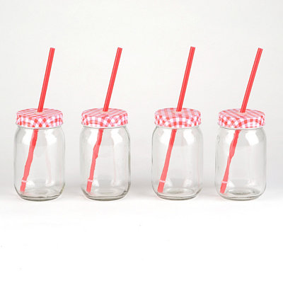 Red Gingham Mason Jar Sipper, Set of 4