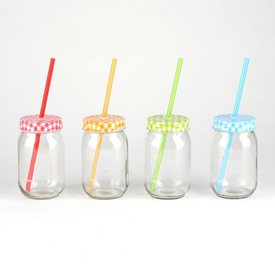 Gingham Mason Jar Sippers, Set of 4