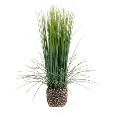 Ceramic Print Pot Grass Arrangement