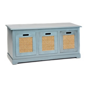Arctic Blue 3-Drawer Storage Bench
