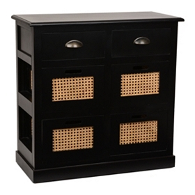 Black 6-Drawer Storage Chest
