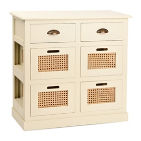 Cream 6-Drawer Storage Chest