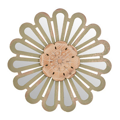 Flower Mirrored Wooden Wall Plaque
