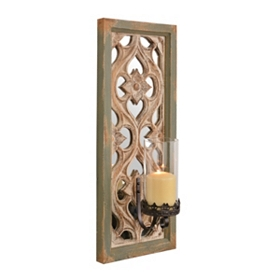 Sage Green Carved Wood Sconce