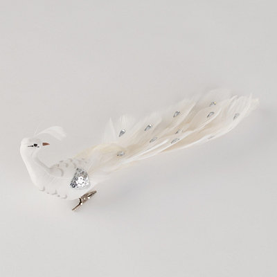 Long White Jeweled Peacock Clip