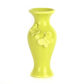Lime Green Butterfly Vase