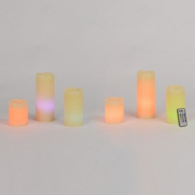 Remote Control Flameless Pillar Candles, Set of 6