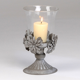 Tin Flower & Glass Candle Holder
