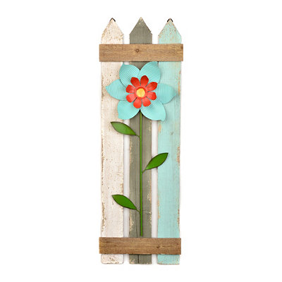 Blue Flowered Picket Fence Plaque