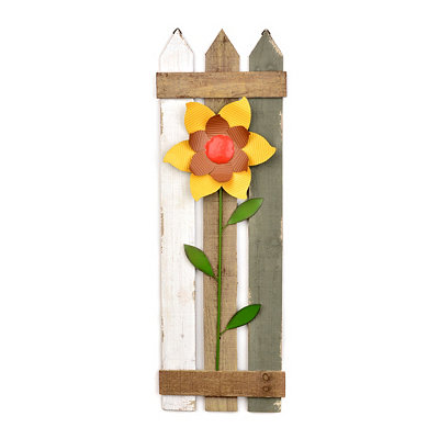 Yellow Flowered Picket Fence Plaque