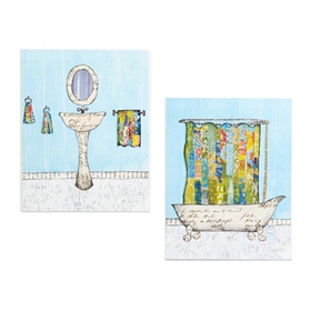 Old Fashioned Bathroom Collage Plaques