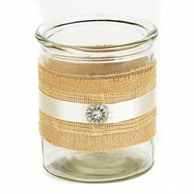 Jeweled Burlap Candle Holder, 6.5 in.