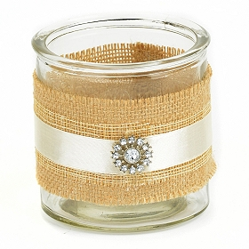 Jeweled Burlap Candle Holder, 4 in.