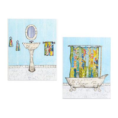 Blue & White Bathroom Scrapbook Art Plaques