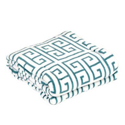 Teal Greek Key Oversized Throw Blanket