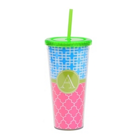Green Monogram A Patterned Tumbler