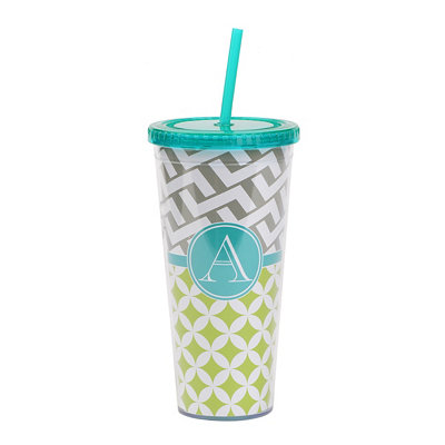 Turquoise Monogram A Patterned Tumbler