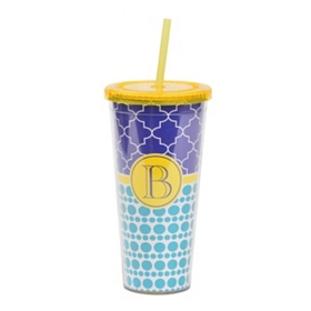 Yellow Monogram B Patterned Tumbler