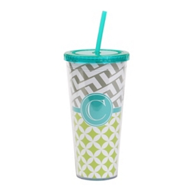 Turquoise Monogram C Patterned Tumbler