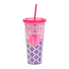 Fuchsia Monogram D Patterned Tumbler