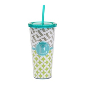 Turquoise Monogram E Patterned Tumbler