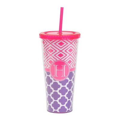 Fuchsia Monogram H Patterned Tumbler