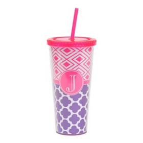 Fuchsia Monogram J Patterned Tumbler