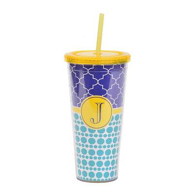 Yellow Monogram J Patterned Tumbler