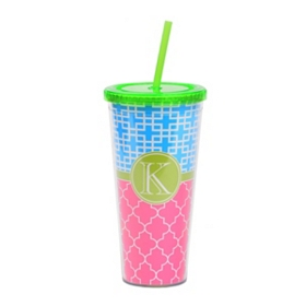 Green Monogram K Patterned Tumbler