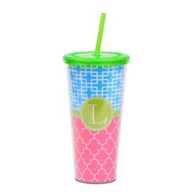 Green Monogram L Patterned Tumbler