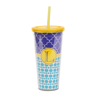 Yellow Monogram L Patterned Tumbler