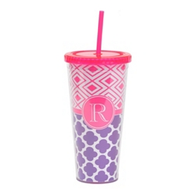 Fuchsia Monogram R Patterned Tumbler