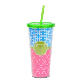 Green Monogram T Patterned Tumbler