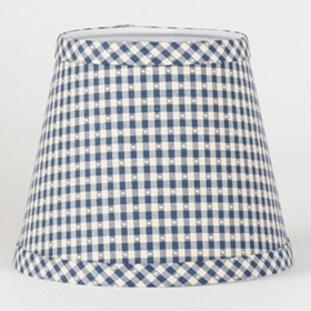Blue and White Gingham Chandelier Shade
