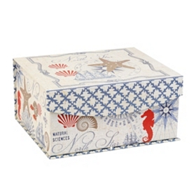 Coastal Print Flip-Top Box, Small
