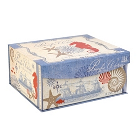 Coastal Print Flip-Top Box, Medium