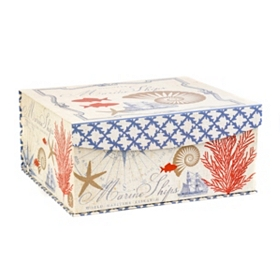 Coastal Print Flip-Top Box, Large