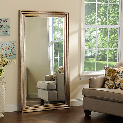 Antiqued Silver Framed Mirror, 37.5x67.5 in.
