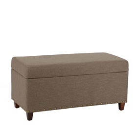 Gray Linen Storage Bench