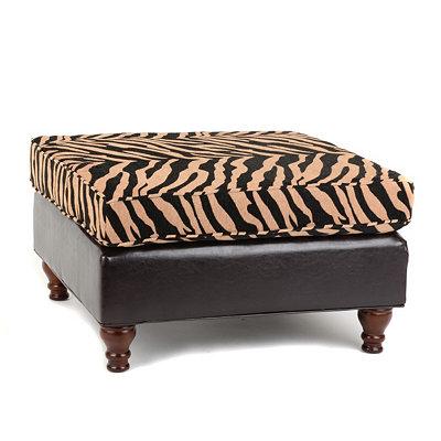 Zebra Print Chenille Bench
