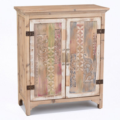 Distressed Natural Carved Cabinet