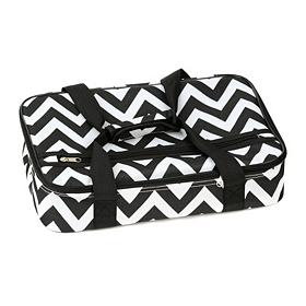 Insulated Black Chevron Casserole Carrier