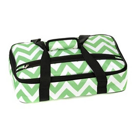 Insulated Green Chevron Casserole Carrier