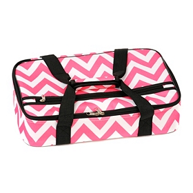 Insulated Pink Chevron Casserole Carrier